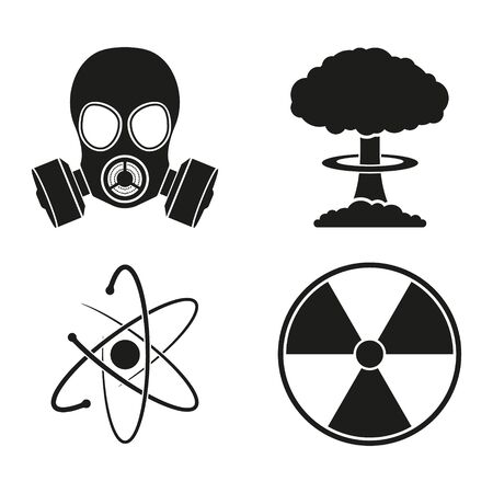Vector black atom icons set nuclear danger. Isolated.