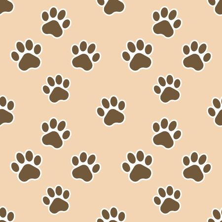 Vector illustration of paw print. Seamless pattern. Vector.
