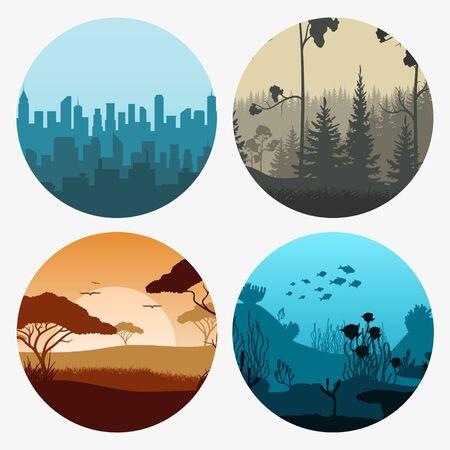 Set of landscape scenes banners. Vector illustration.