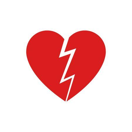 Ilustración de vector de icono de corazón roto. Ilustración de vector