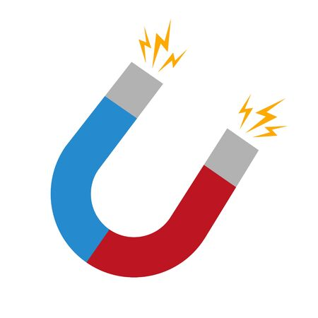 Vector illustration of red and blue horseshoe magnet. Isolated.