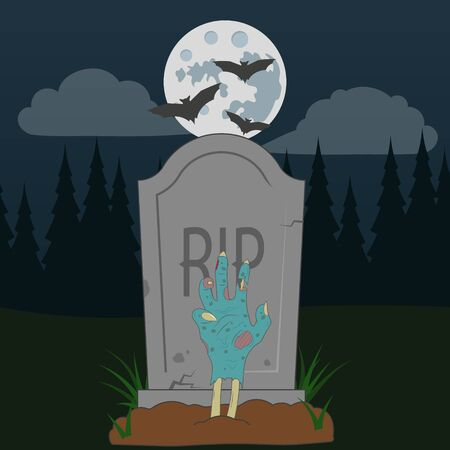 A spooky zombie grave Halloween illustration with full moon. Vector. Фото со стока - 138014675