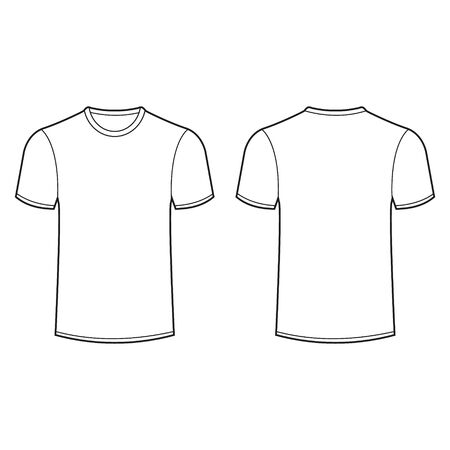 Vector illustration of front and back view of t shirt. Isolated.