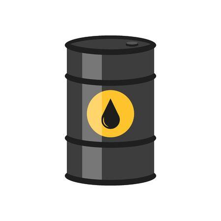 Illustration of black barrels with oil labels. Vector. Ilustrace