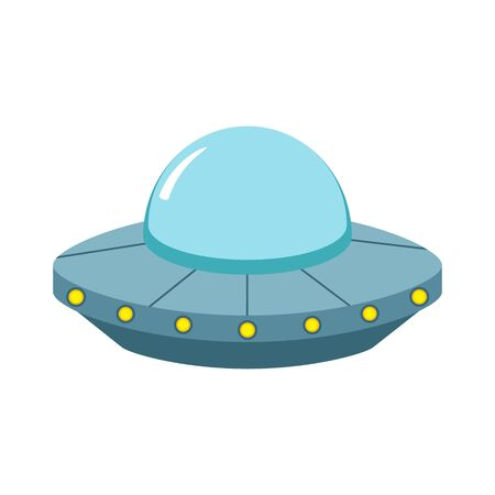 Ufo in flat design icon. Vector illustrtion. Isolated.