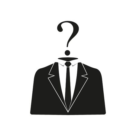 Businessman black icon with question mark. Vector illustration.