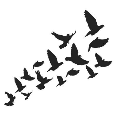 Fondo con pájaros voladores. Palomas, ilustración vectorial. Ilustración de vector