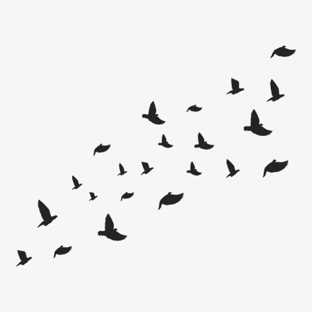 Background with flying doves. Vector illustration. Isolated.