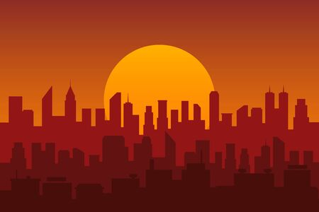 Silhouette of the city at sunset. Vector illustration.
