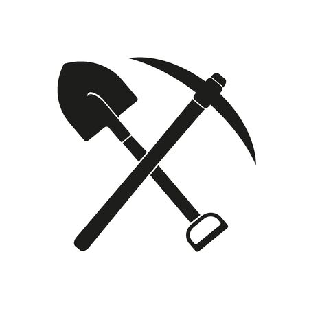 Crssed shovel and pickaxe tools, mining industry vector Illustration.