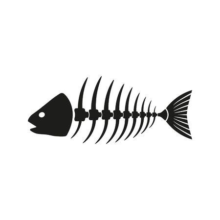 Ilustracja na białym tle ikona kości czarny ryb. Wektor.