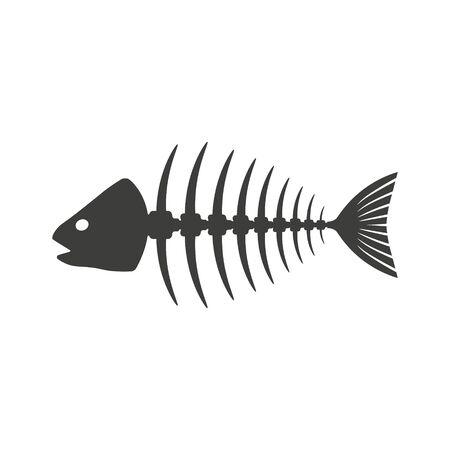 Vector illustation of fish skeleton icon. Isolated.