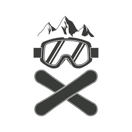 Snowboarding goggles extreme logo design. Vector illutration. Logo