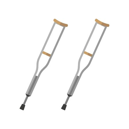 Vector crutch flat style icon design. Isolated.