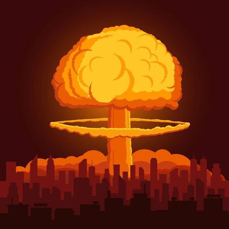 illustration with atomic explosion cloud above city.