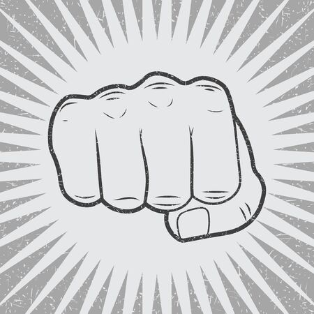 Fist with sunbursts in vintage style. Vector illustration,  イラスト・ベクター素材