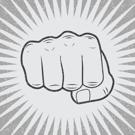 Fist with sunbursts in vintage style. Vector illustration, Illustration