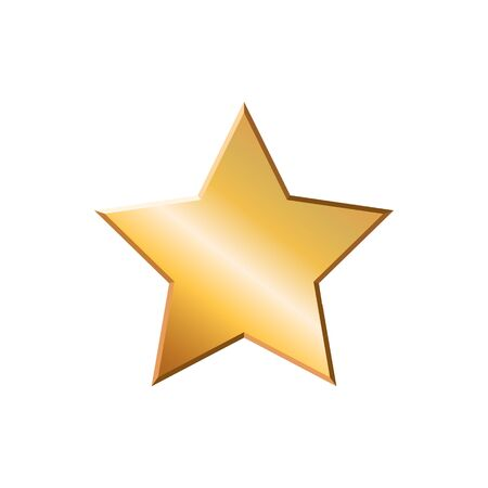 Vector illstration of gold star. Flat design. Isolated.