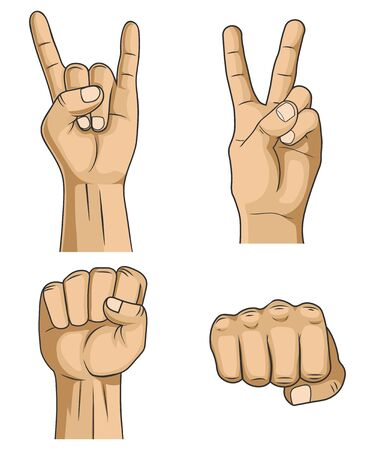 Vector illstration of hand signs set white background.