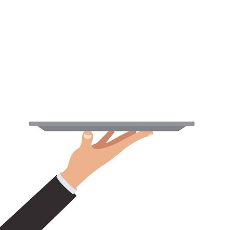 Waiter hand holding empty silver tray dish vector illustration.  イラスト・ベクター素材