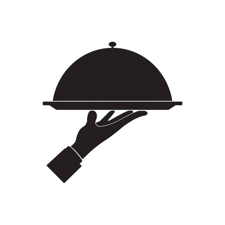 Vector illstration of waiter hand icon. Flat design. Isolated.