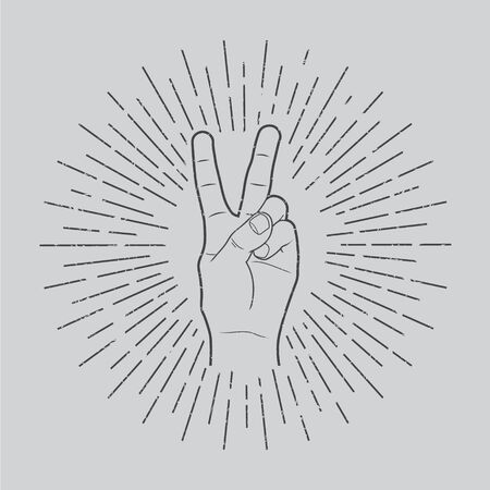 Vector illustration in retro style of a hand with victory sign. Vettoriali