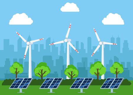 Wind alternative energy generator. Vector illustration. Flat design.