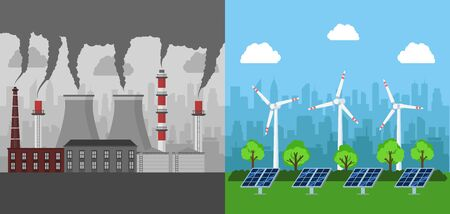 Eco clean energy production concept . Flat design.