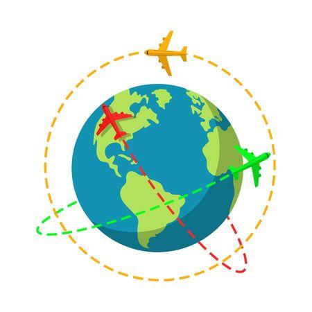 Vector illstration of colored planes flying around Earth. Flat design. Isolated. Vektoros illusztráció