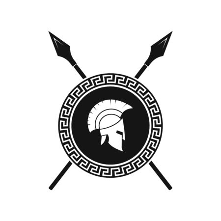 Vector illstration of spartan helmet and shield logo on white background.