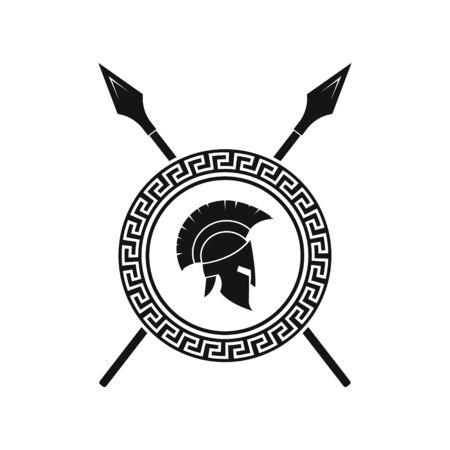 Vector illstration of spartan helmet logo on white background. Isolated.