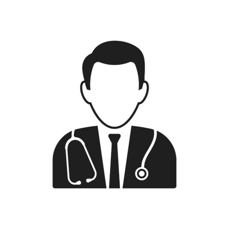 Vector illustration of simple doctor icon on white background.
