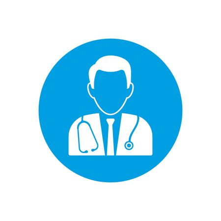 Vector illustration of simple doctor icon in circle Isolated.