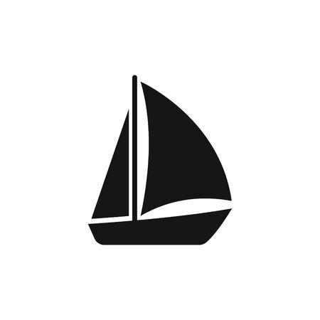Vector illstration of simple boat icon. Flat design. Isolated.