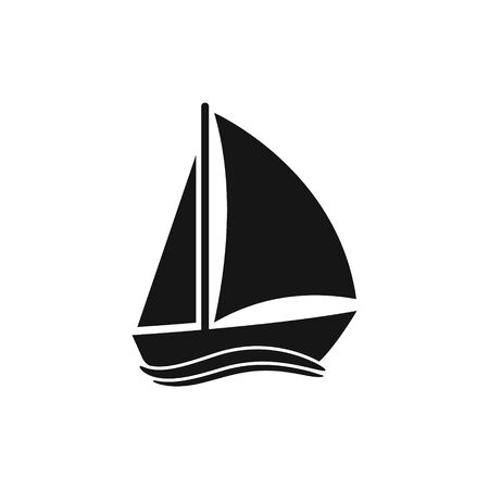 Vector illstration of boat icon. Flat design. Isolated.