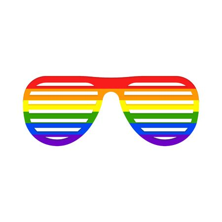 Vector illstration of shutter rainbow glasses icon. Isolated.