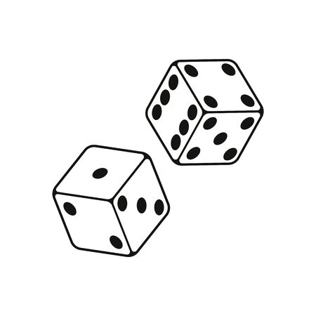 Vector illstration of dice on white background. Vector Illustration