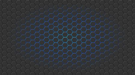 Illstration of hexagon background with blue light. Vettoriali