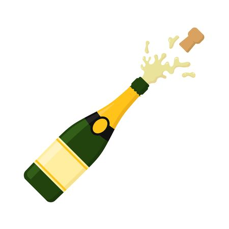 Illstration wektor ikona wybuchu szampana. Płaska konstrukcja.