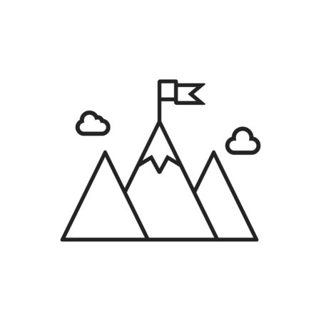 Vector illstration of mountain icon. Outline design. Isolated.