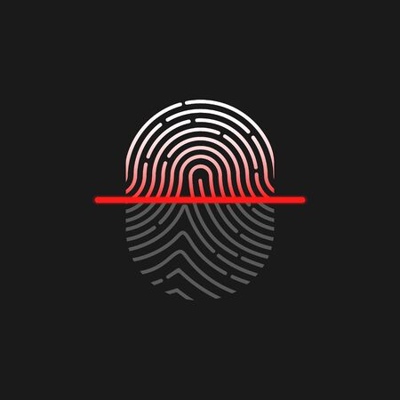 Vector illstration of fingerprint scanning. Isolated. Иллюстрация