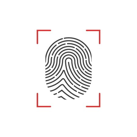 Vector illstration of fingerprint icon. Flat design.