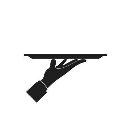 Tray on the hand icon Vector Illustration. Isolated.