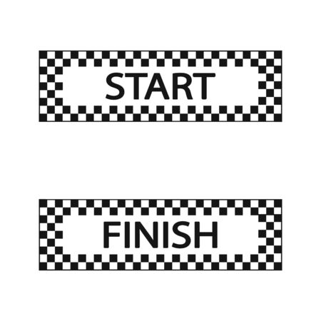 Start and finish flag, vector illustration set. Иллюстрация