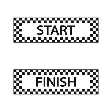 Start and finish flag, vector illustration set. Ilustracja