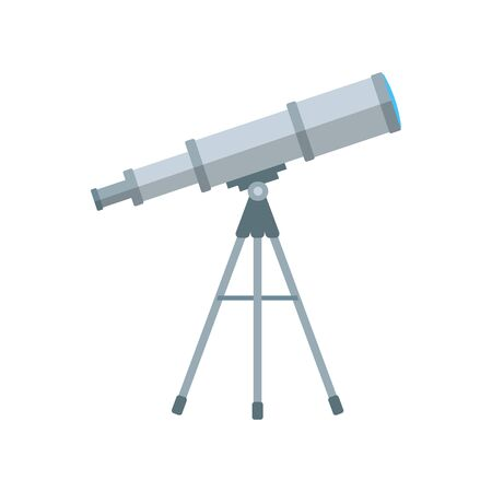 Flat telescope with long shadow. Vector illustration, icon. Иллюстрация