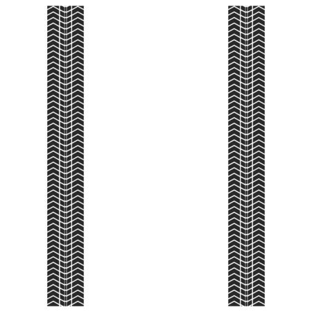 Vector illstration of tire track on white background. Isolated.