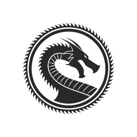 Ilustración de vector de dragón en círculo logo aislado.