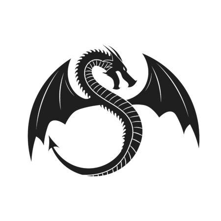 Ilustración vectorial del diseño del logotipo del dragón. Aislado.
