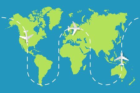 World map of airline airplane flight. Travel concept. Vector illustration.